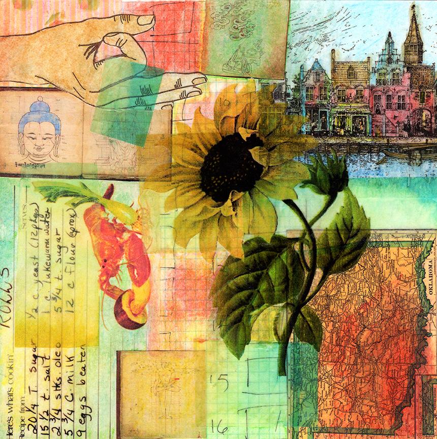 "Sanctuary Collage on watercolor paper 8"" x 8"" 2016"