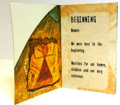"""Warriors of Light   Pages 1 and 2, origami folded book, featuring photographs of original artwork and poetry, digital print   4 1/8"""" x 2 3/4""""   2016"""