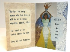 """Warriors of Light   Pages 3 and 4, origami folded book, featuring photographs of original artwork and poetry, digital print   4 1/8"""" x 2 3/4""""   2016"""